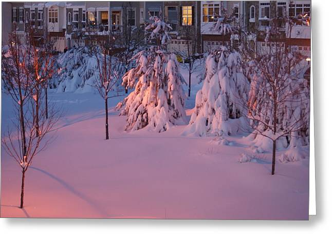Greeting Card featuring the photograph Christmas Evening Snow by Heidi Poulin