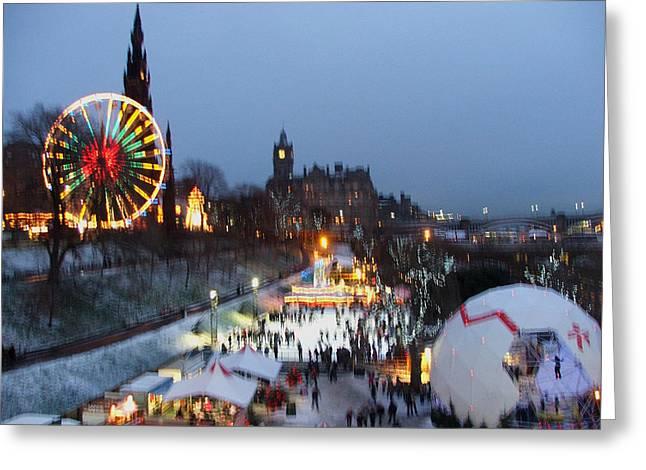 Christmas Fair Edinburgh Scotland Greeting Card by Heather Lennox