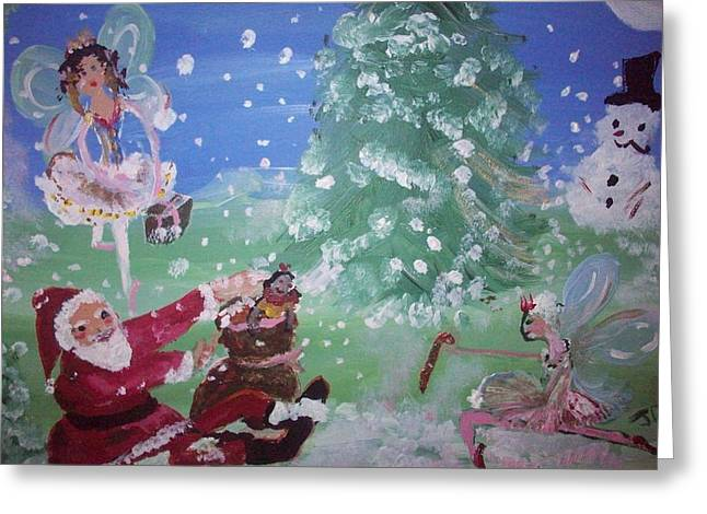 Greeting Card featuring the painting Christmas Fairies by Judith Desrosiers