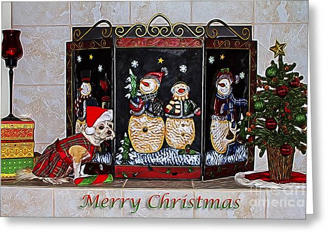 Christmas Fireplace Puppy Greeting Card