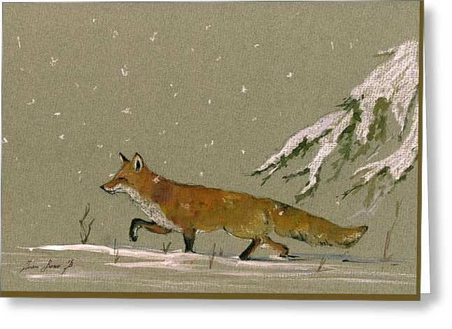 Christmas Fox Snow Greeting Card by Juan  Bosco