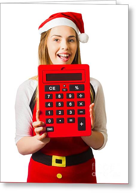 Christmas Girl Calculating Holiday Savings Greeting Card by Jorgo Photography - Wall Art Gallery