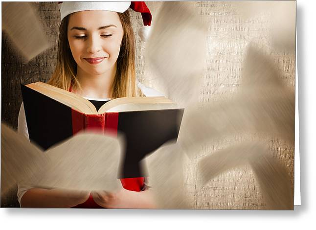 Christmas Girl Reading Open Story Book Greeting Card by Jorgo Photography - Wall Art Gallery