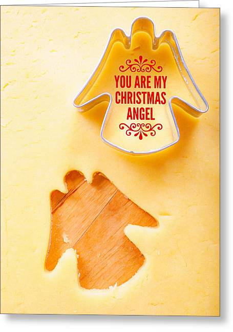 Christmas Greetings With Angel Greeting Card by Matthias Hauser