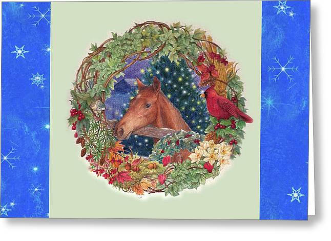 Greeting Card featuring the painting Christmas Horse And Holiday Wreath by Judith Cheng