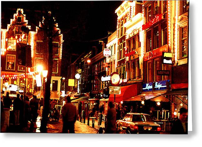 Christmas In Amsterdam Greeting Card by Nancy Mueller