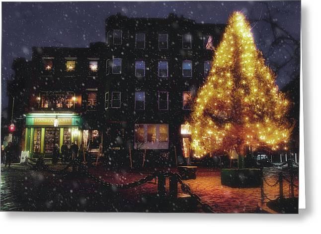 Christmas In Boston - North Square Greeting Card by Joann Vitali