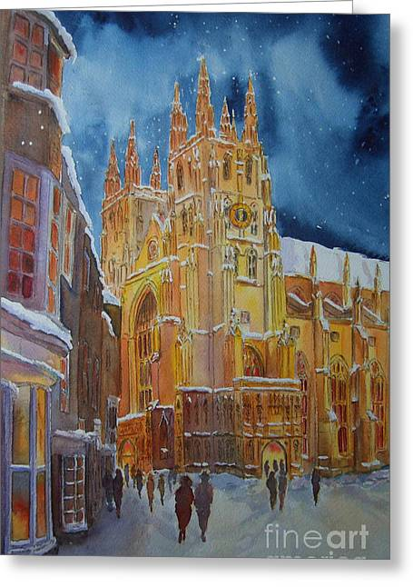 Greeting Card featuring the painting Christmas In Canterbury by Beatrice Cloake