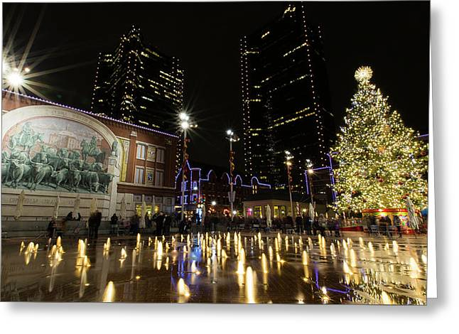 Christmas In Cowtown Greeting Card by Stephen Stookey