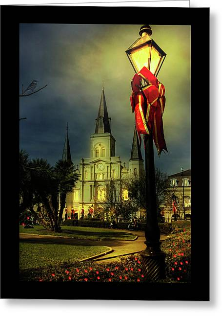 Christmas In Jackson Square Greeting Card by Mary Albert