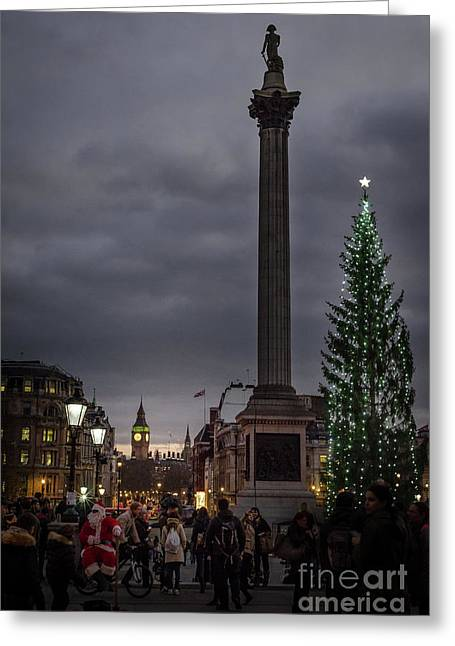 Christmas In Trafalgar Square, London Greeting Card