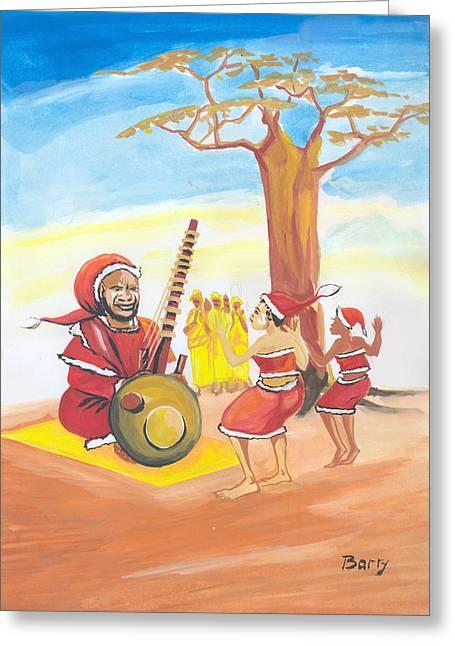 Greeting Card featuring the painting Christmas In Senegal by Emmanuel Baliyanga