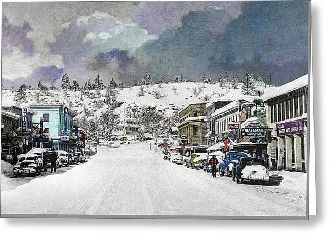 Greeting Card featuring the photograph Christmas In Susanville, 1953 by The Couso Collection