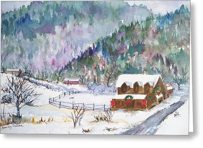 Christmas In The Mountains Greeting Card by Sandy Collier