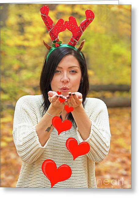 Greeting Card featuring the photograph Christmas Kisses.. by Nina Stavlund