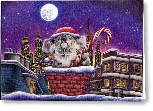 Christmas Koala In Chimney Greeting Card