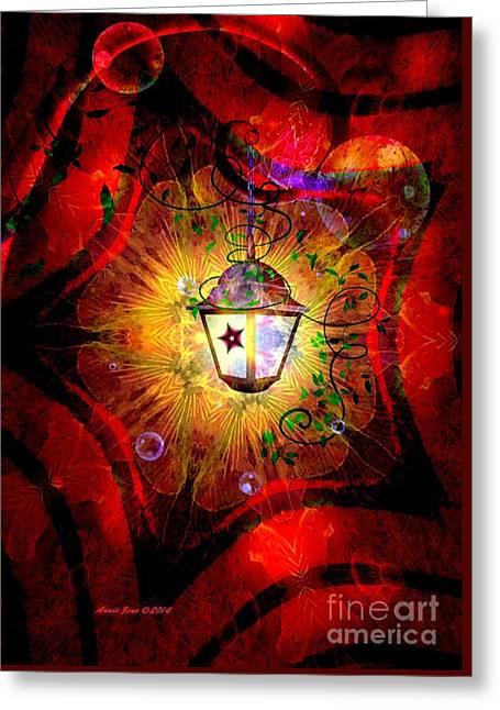 Christmas Lantern And Christmas Star Greeting Card