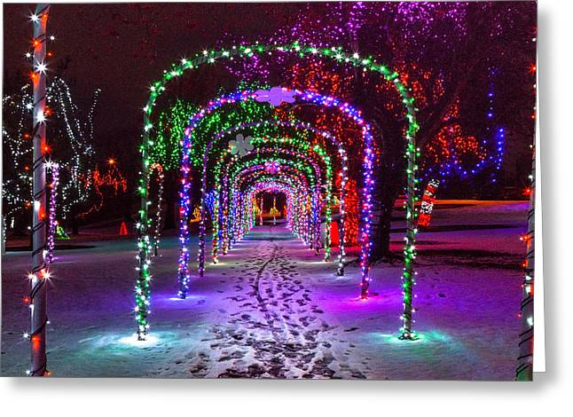 Christmas Light Arches Greeting Card