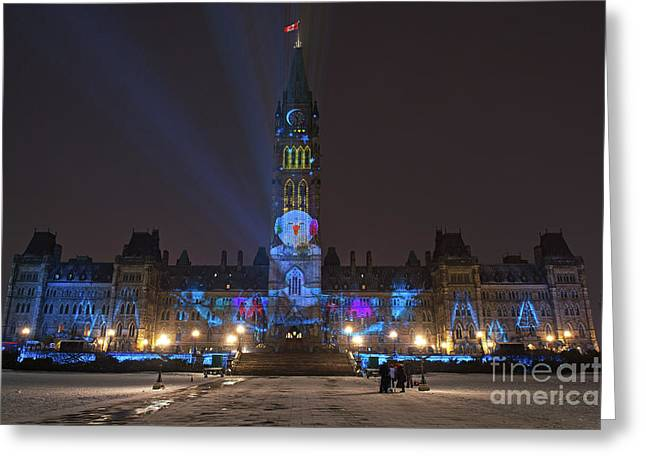 Christmas Lights Across Canada.. Greeting Card by Nina Stavlund