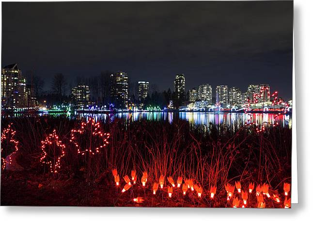 Christmas Lights At Lafarge Lake In City Of Coquitlam Greeting Card