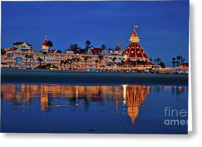 Christmas Lights At The Hotel Del Coronado Greeting Card