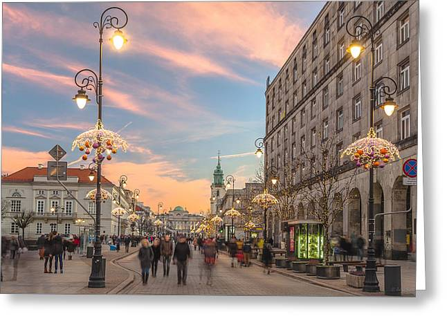 Greeting Card featuring the photograph Christmas Lights In Warsaw by Julis Simo