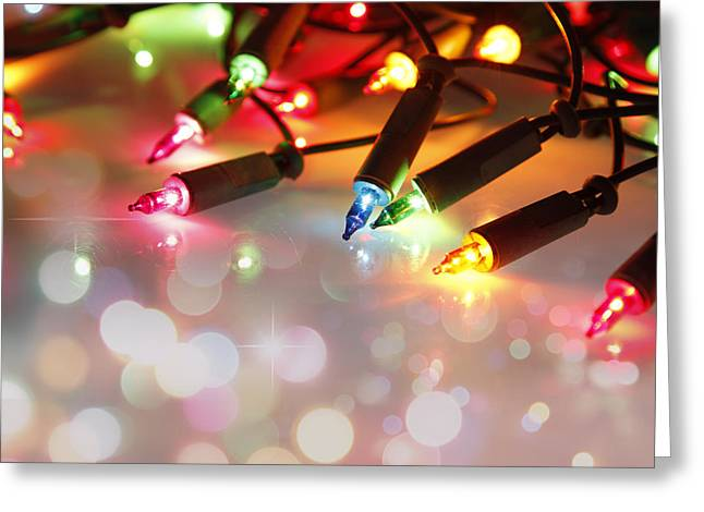 Christmas Lights Greeting Card by Les Cunliffe