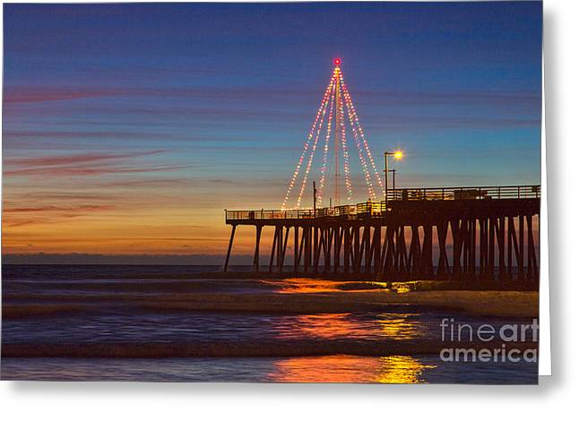 Christmas Lights On The Pismo Pier Greeting Card