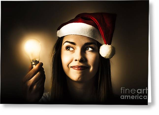 Christmas Lights Woman With Bright Idea Greeting Card by Jorgo Photography - Wall Art Gallery