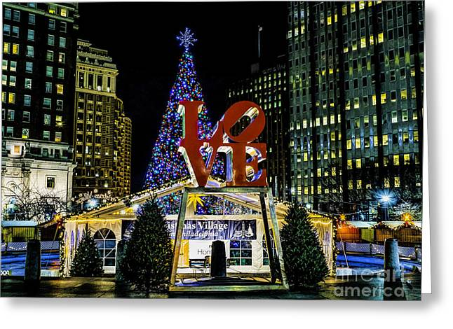 Christmas - Love Park 2015 Greeting Card by Nick Zelinsky
