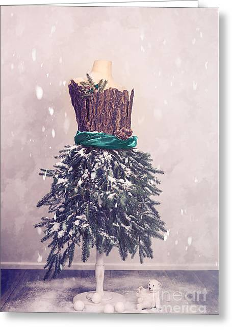 Christmas Mannequin Dressed In Fir Branches Greeting Card by Amanda Elwell