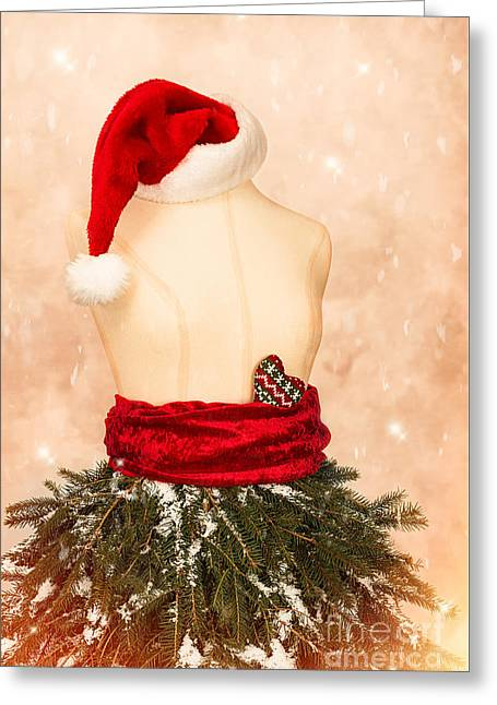 Christmas Mannequin With Santa Hat Greeting Card by Amanda Elwell
