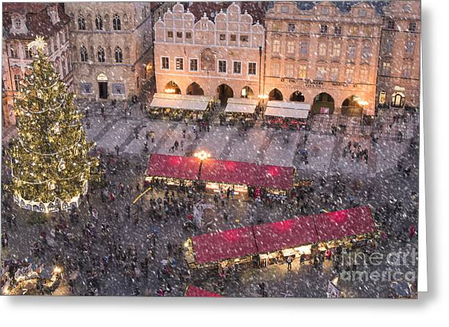 Christmas Market In Prague Greeting Card by Juli Scalzi