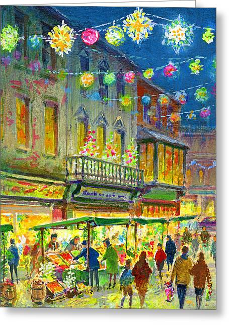 Christmas Market Greeting Card by Stanley Cooke