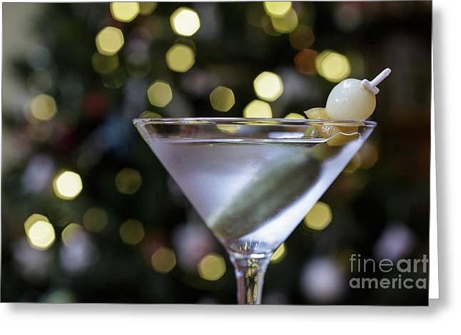 Christmas Martini Greeting Card by Edward Fielding