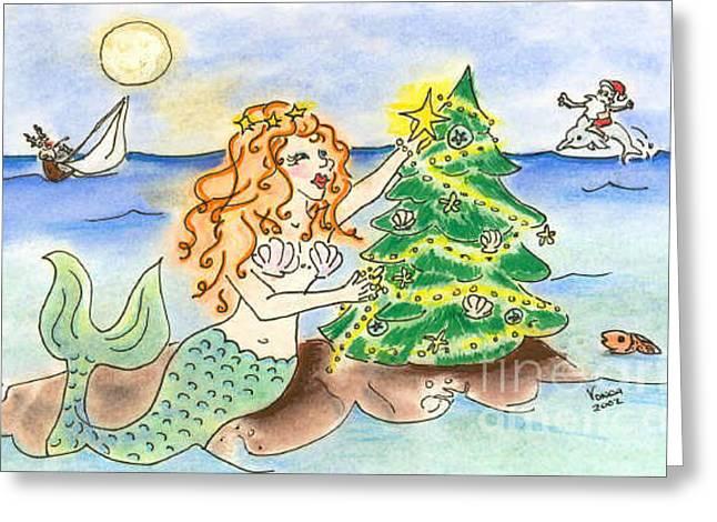 Christmas Mermaid Greeting Card by Vonda Lawson-Rosa