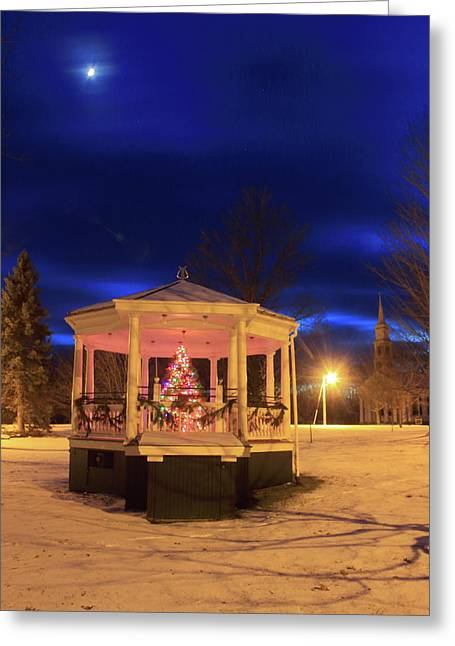Christmas Moon Over Town Common Greeting Card by John Burk