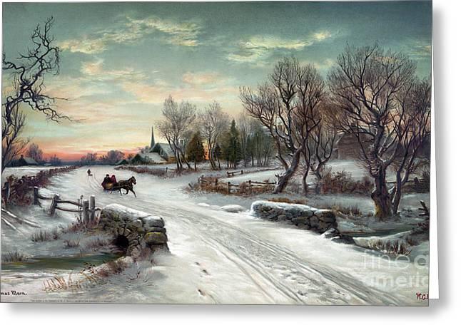 Christmas Morn, C1885 Greeting Card