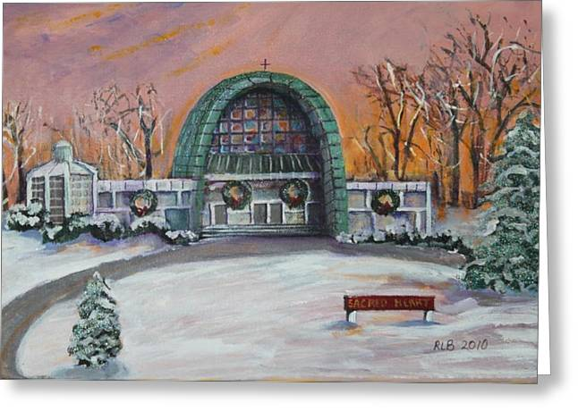 Greeting Card featuring the painting Christmas Morning At Sacred Heart Church by Rita Brown