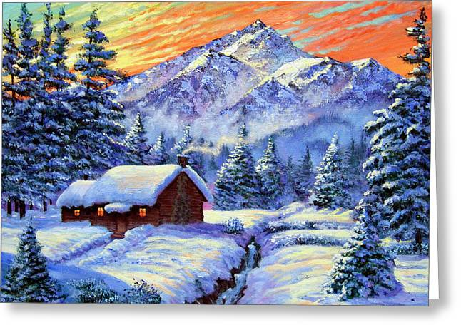 Christmas Morning Greeting Card by David Lloyd Glover