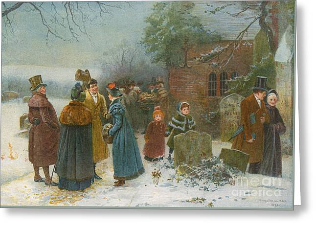 Christmas Morning  Neighbourly Greetings, And Doles To The Poor And Needy Greeting Card by Edward Frederick Brewtnall