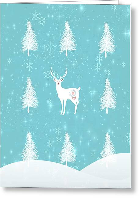 Christmas Morning Stag Greeting Card by Amanda Lakey