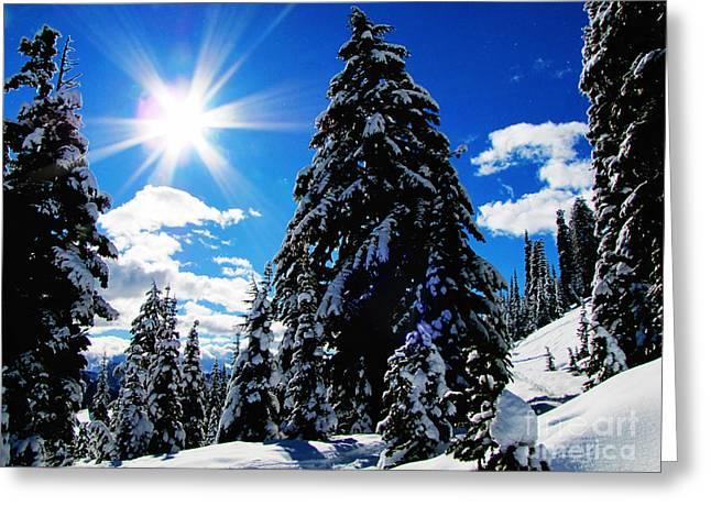 Christmas On Mount Rainier Greeting Card