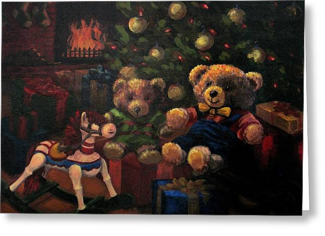 Greeting Card featuring the painting Christmas Past by Karen Ilari