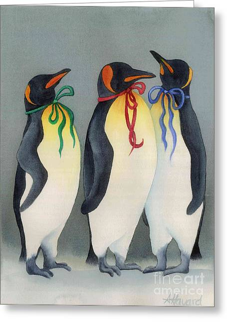 Christmas Penguinsii Greeting Card by Anne Havard