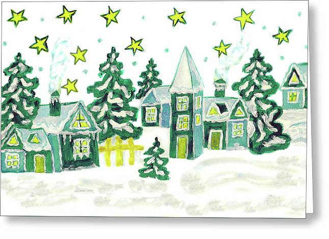 Christmas Picture In Green Greeting Card by Irina Afonskaya