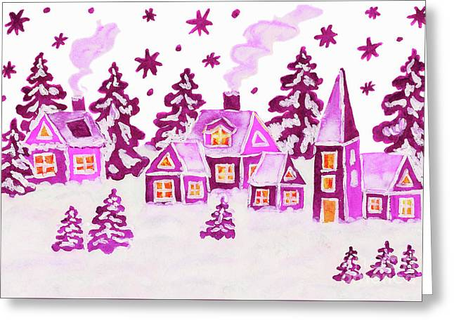Christmas Picture In Pink Colours Greeting Card