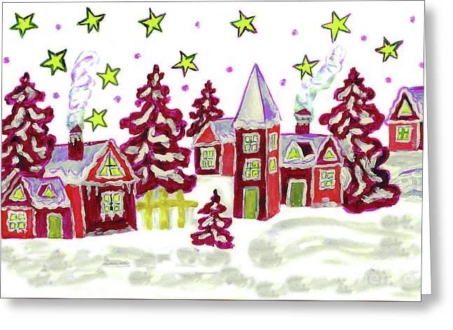 Christmas Picture In Red Greeting Card by Irina Afonskaya