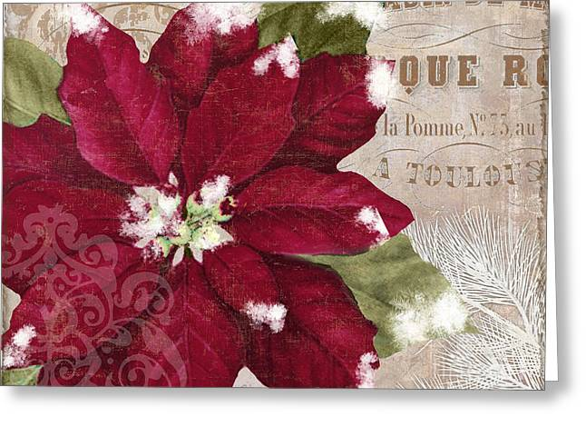 Christmas Poinsettia Greeting Card by Mindy Sommers