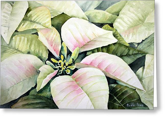 Christmas Poinsettias Greeting Card by Bobbi Price